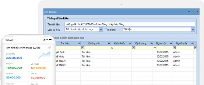 Lưu trữ và tra cứu các tài liệu ngay trên phần mềm một cách dễ dàng