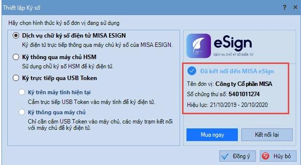 chữ ký số phần mềm kế toán misa