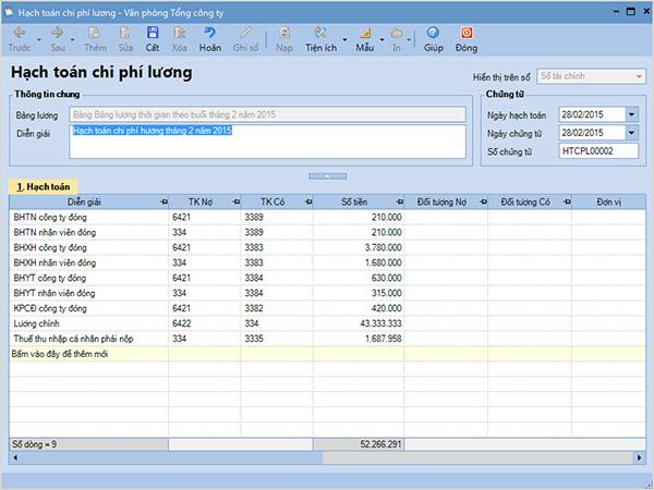Hạch toán chi phí lương theo đúng tỷ lệ đã phân bổ cho từng bộ phận/ phòng ban