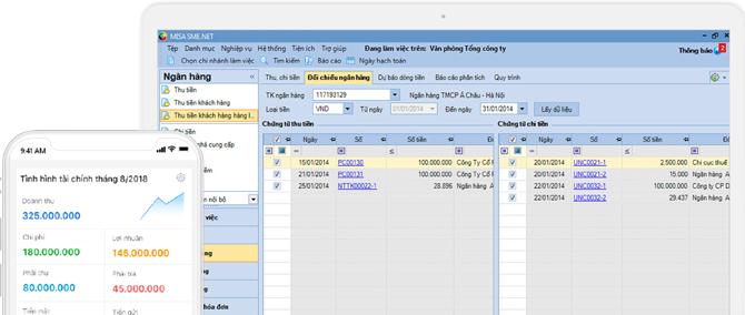 Giao dịch với Ngân hàng ngay trên phần mềm kế toán MISA SME.NET